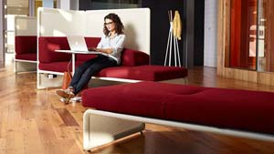 seating and table collection with privacy panels