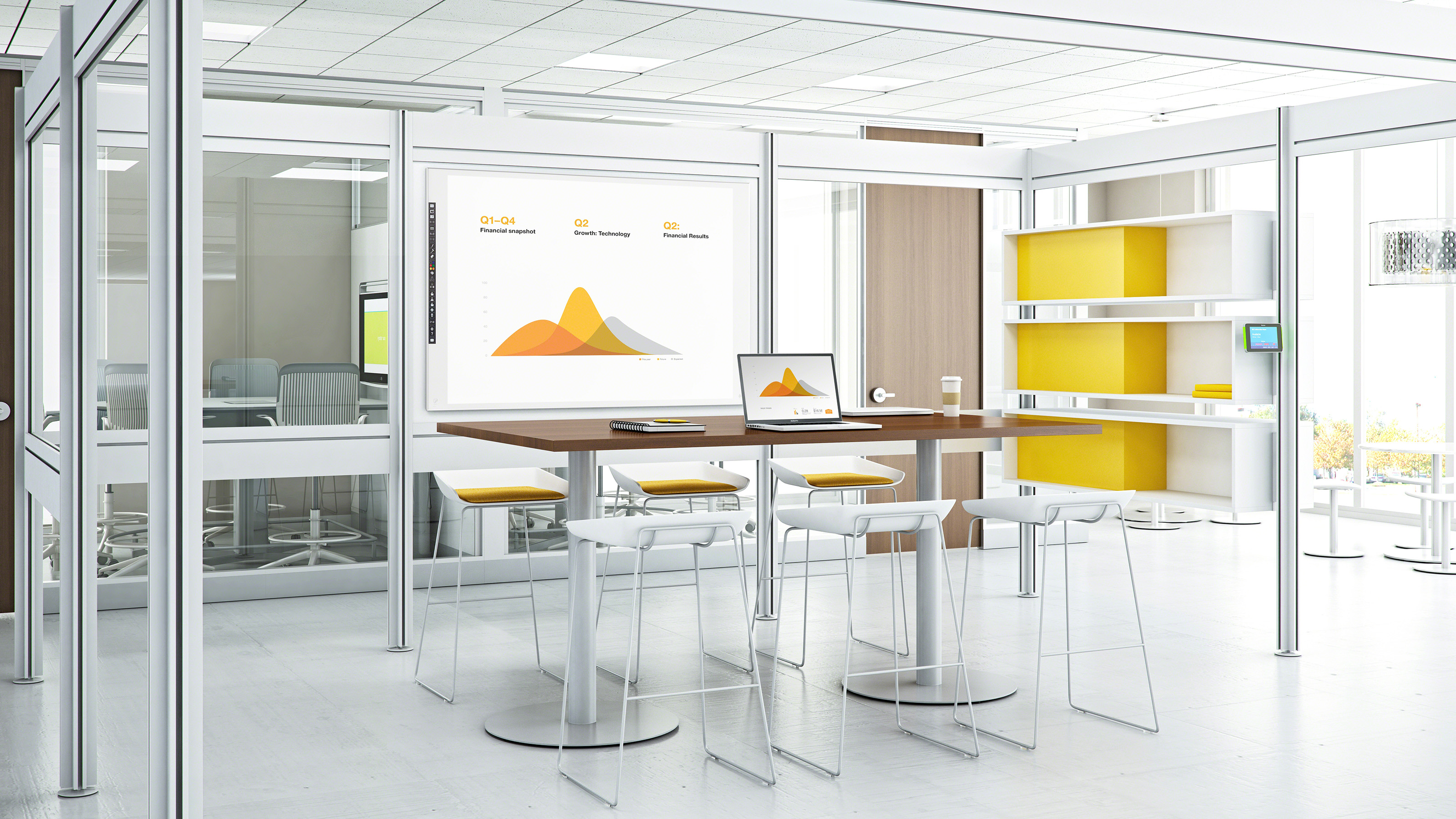 A Post & Beam installation which is a beautiful huddle space in a modern work place. Technology is integrated into the structure and the whole installation can be easily reconfigured quickly.