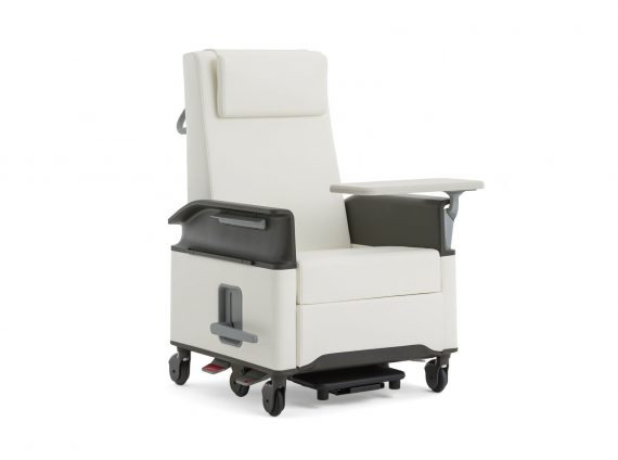 A white Empath patient chair with Tablet Arm on white background.