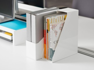 SOTO Diagonal File Box + Monitor Bridge by Steelcase