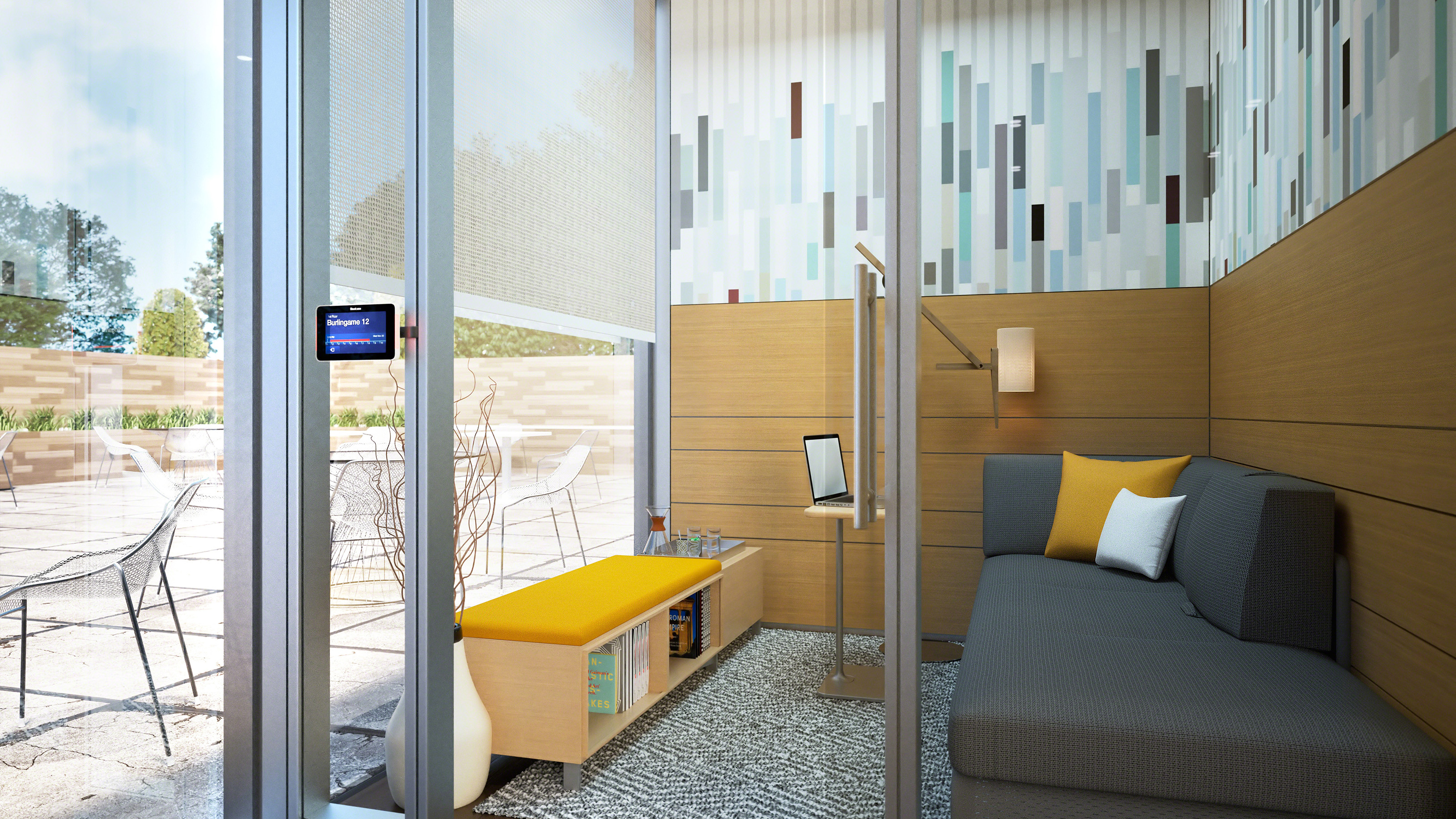 A V.I.A private room with glass exterior and an outside view. V.I.A. offers superior acoustical privacy and an aesthetically pleasing look. The system allows for complete customization.