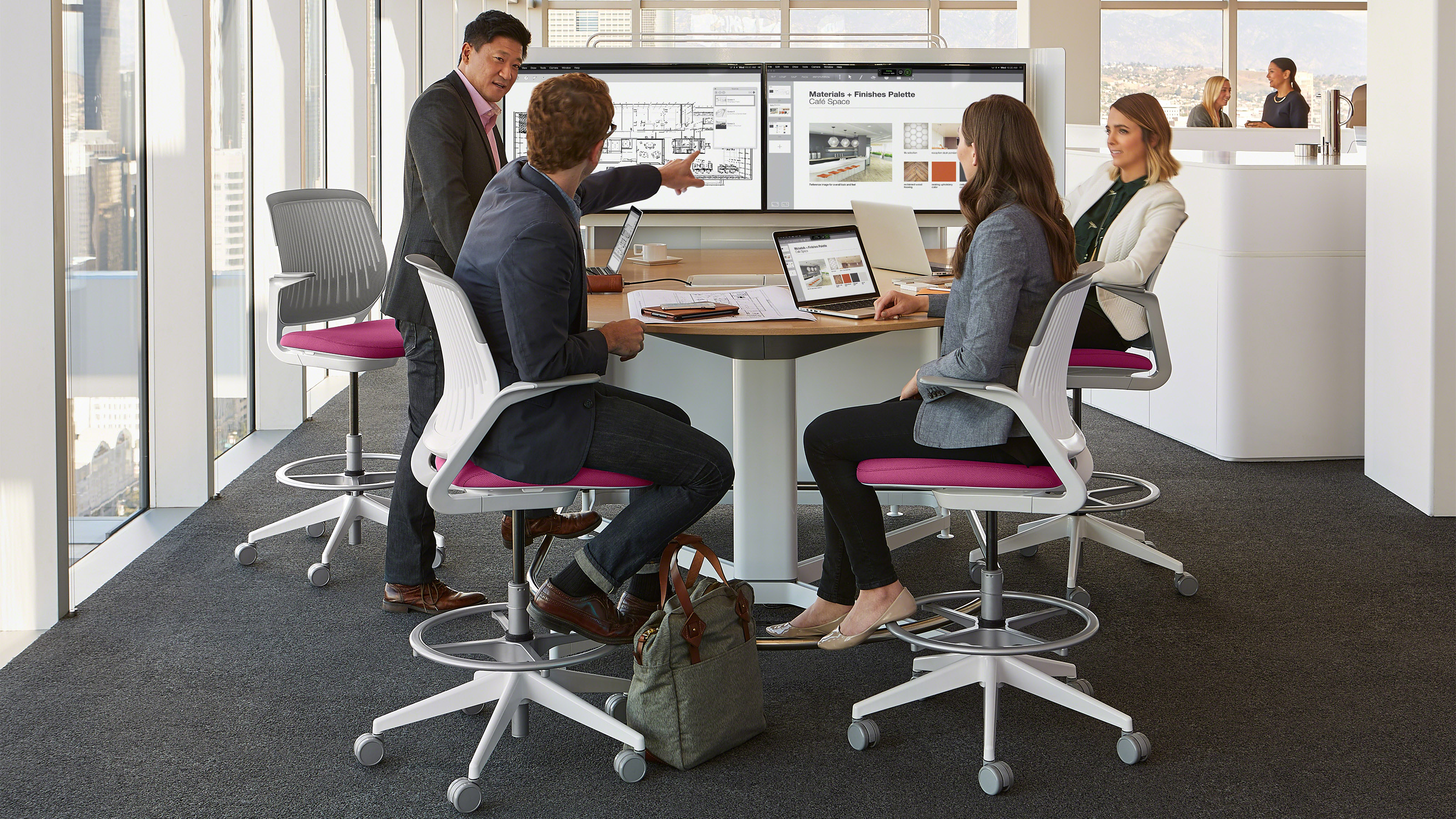 media:scape standing height table with cobi stools