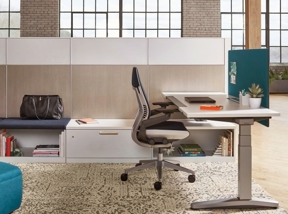 Answer Panel and Ology Height Adjustable Desk with Gesture Chair