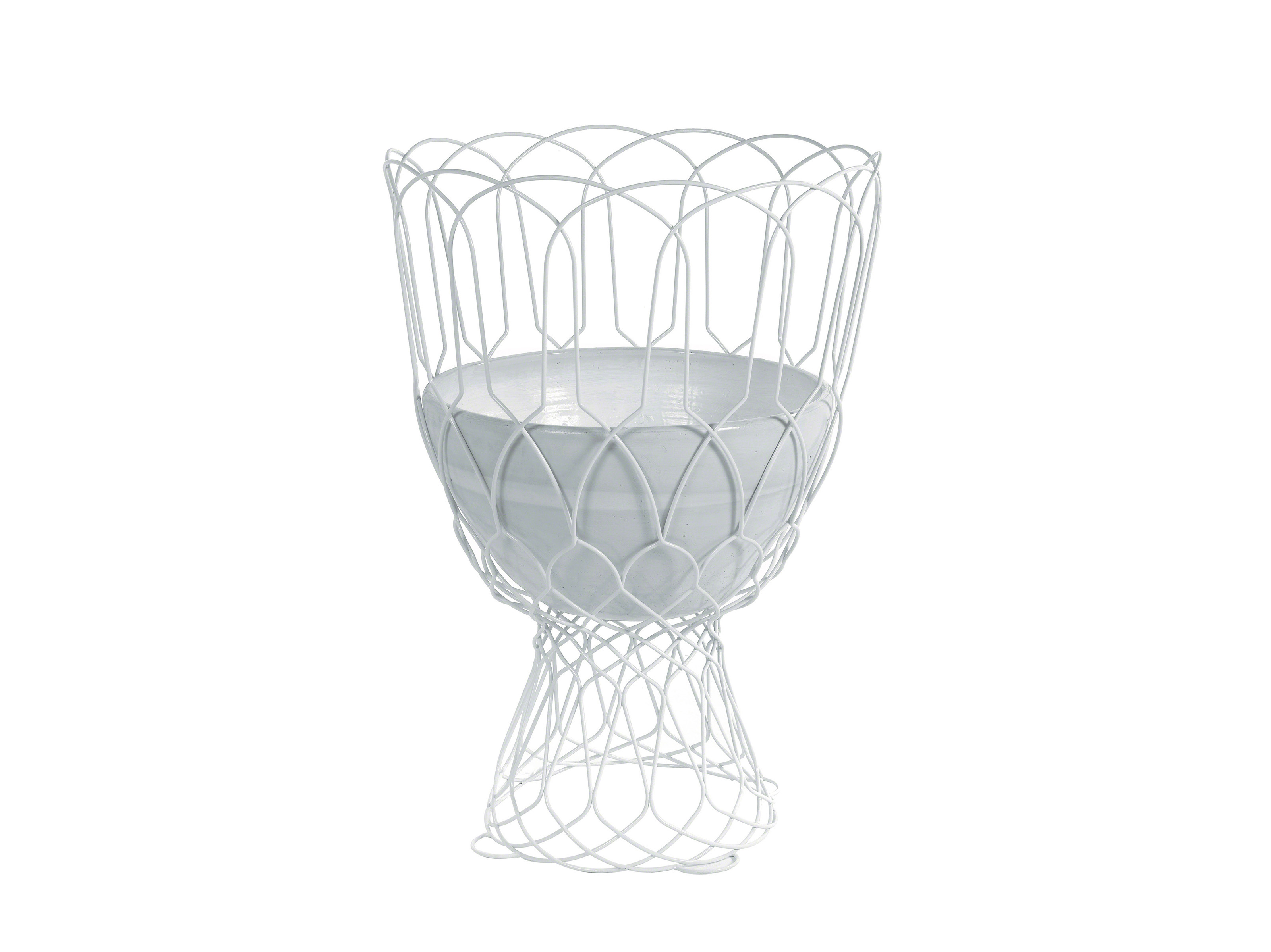 Large white outdoor mesh vase by Coalesse