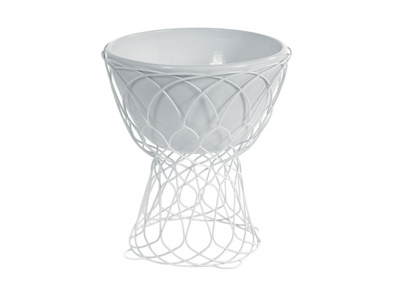 Large white mesh outdoor vase by Coalesse