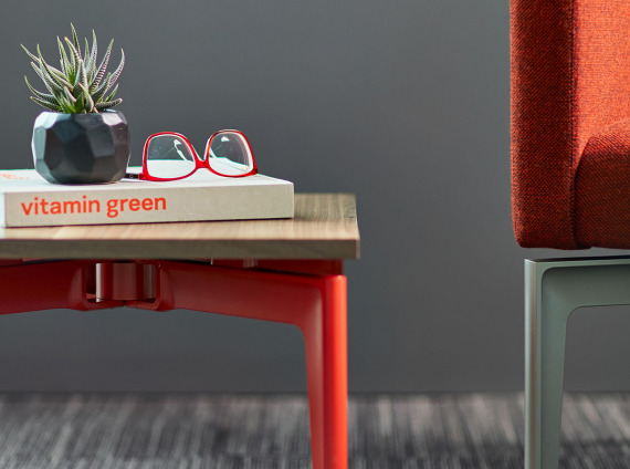 Bassline table with red base by turnstone