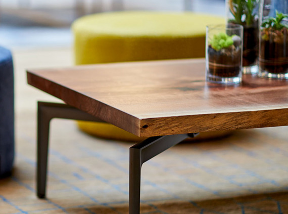 Bassline table with Walnut Top by turnstone