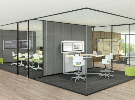 Light scale 1/2 glass wall from Steelcase