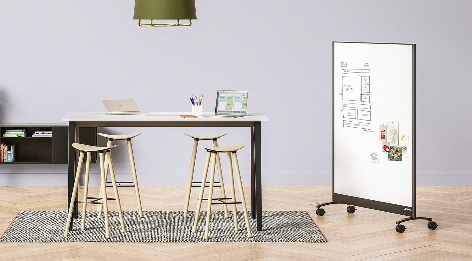 a3 CeramicSteel Mobile with whiteboard surface, B-Free high sit.