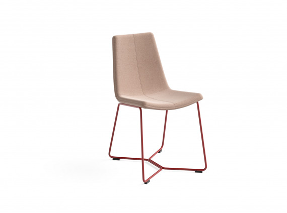 Guest chair with red legs