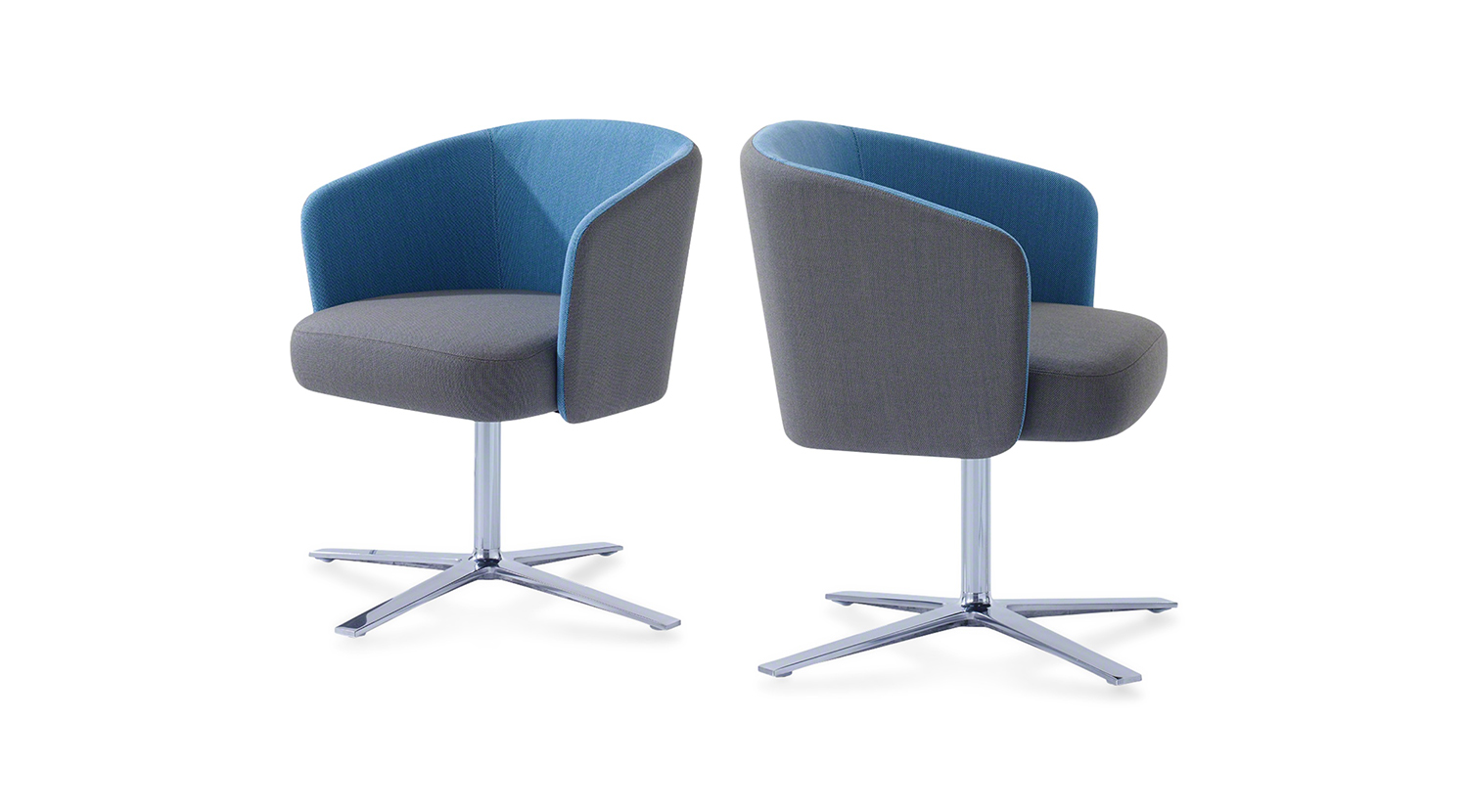 Two Hay modern chairs with grey cushion on the seat and blue cushion on the back