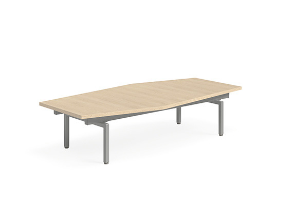 White background image with a semi rectangular wooden table