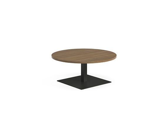 White background image with round wooden table