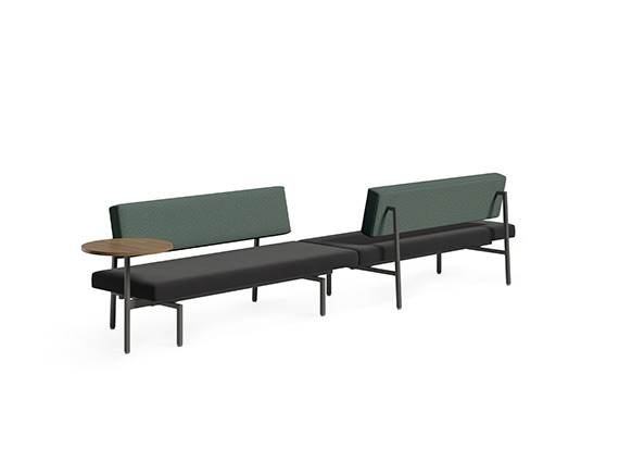 Grey and green sofa with table