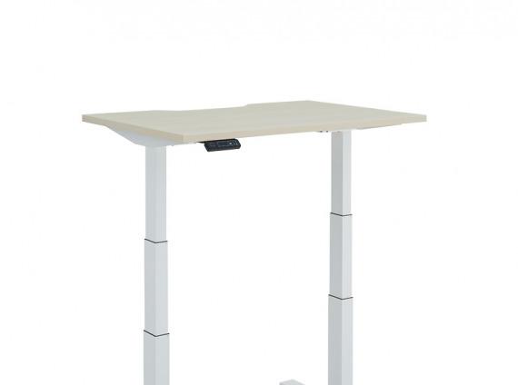 Height Adjustable Desk, Extended, T-Leg on white background