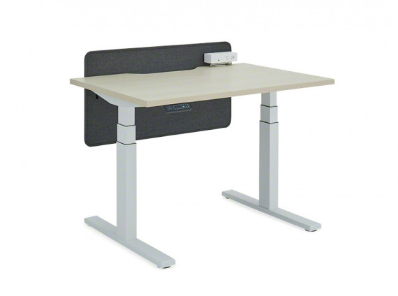 Bivi Height-adjustable Desk Utility Power with Accessory Clamp-on Power Screen: Straight Screen on white background