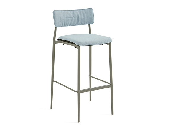 On white image of Stool with back and seat cushion