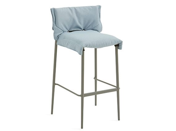 On white image of Stool with relaxed slipcover