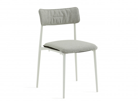 White Turnstone Simple Chair with gray back and seat cushions.
