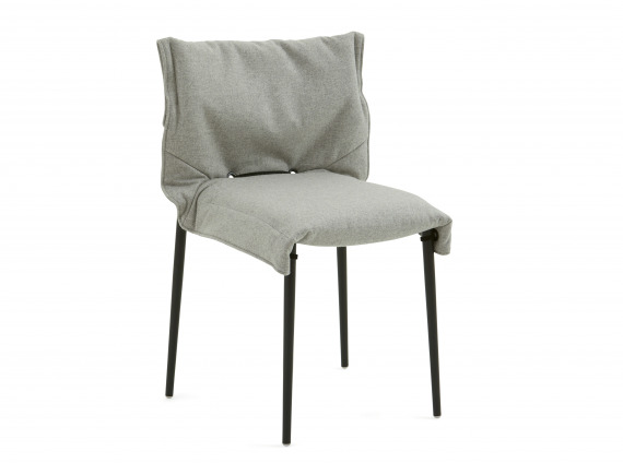 Black Turnstone Simple Chair with gray relaxed slipcover