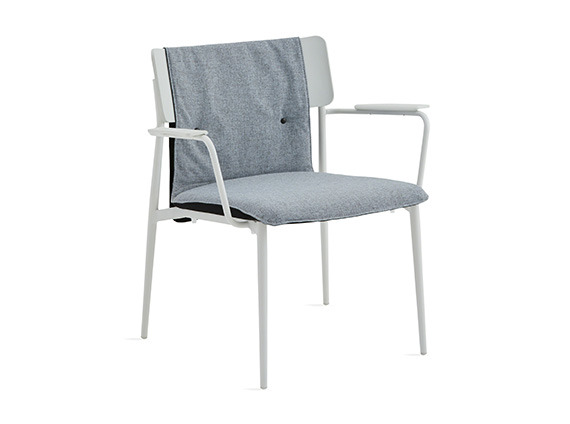 simple lounge chair with gray cushion and white base