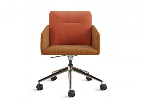 Orange Coalesse Marien152 Conference Chair 5-Star with wheels on white background