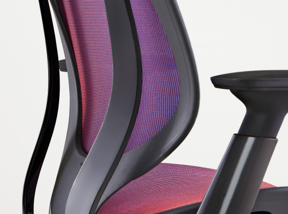 angled view to the back of a Steelcase Karman chair