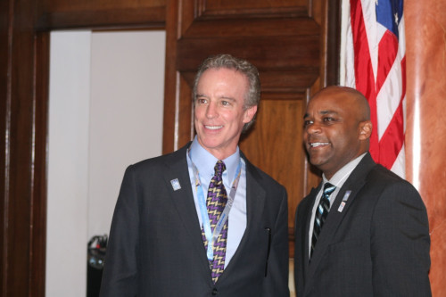 Bob Deibel and Mayor Michael Hancock