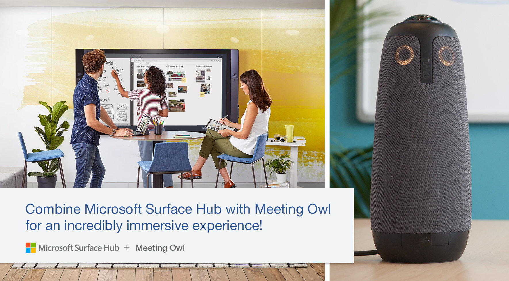 Microsoft Surface Hub plus Meeting Owl creates an immersive experience