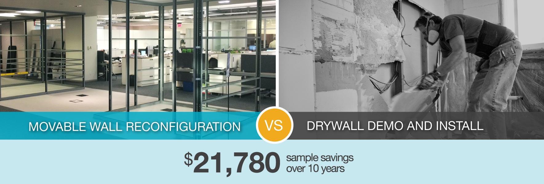 sample savings of demountable walls over traditional construction