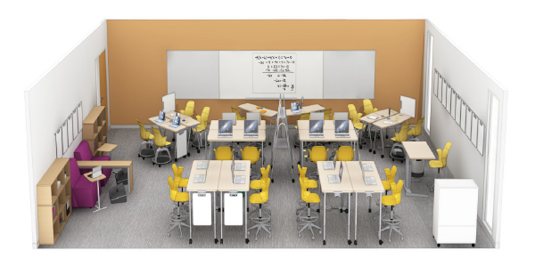 steelcase education active learning classroom with adjustable height desks