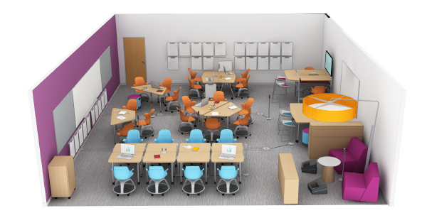 steelcase education active learning classroom with ergonomic and lounge seating