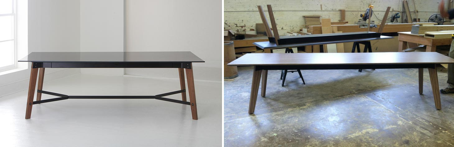 custom conference table inspiration image next to finished result