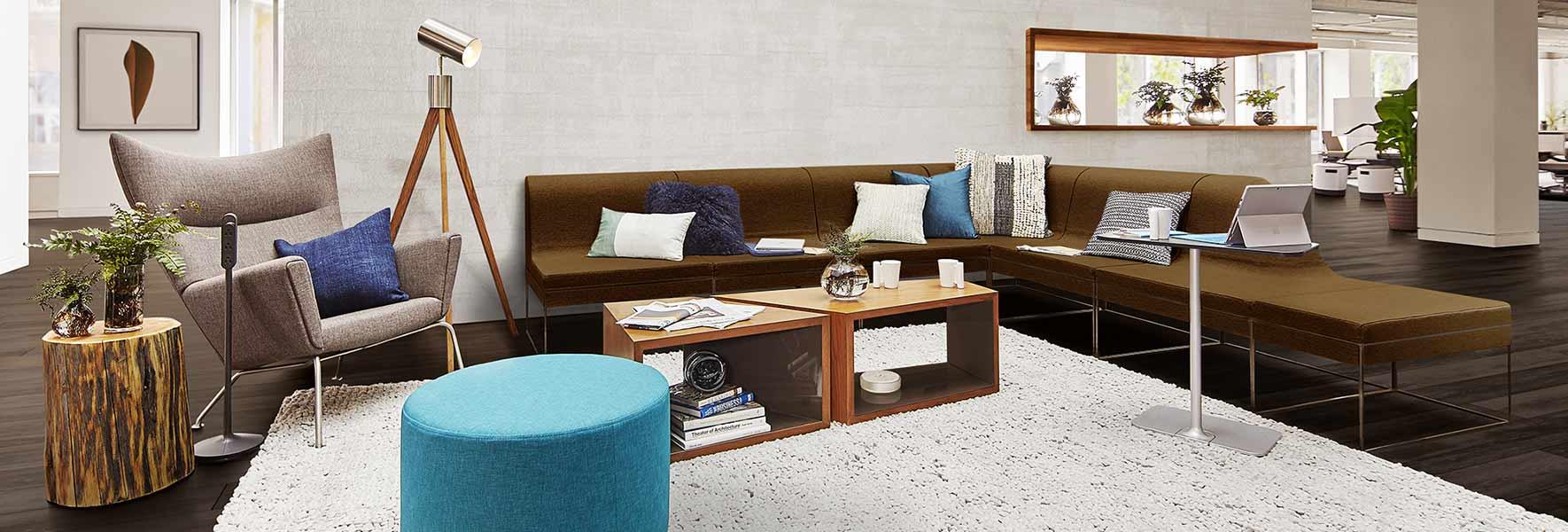 A modern office lounge environment