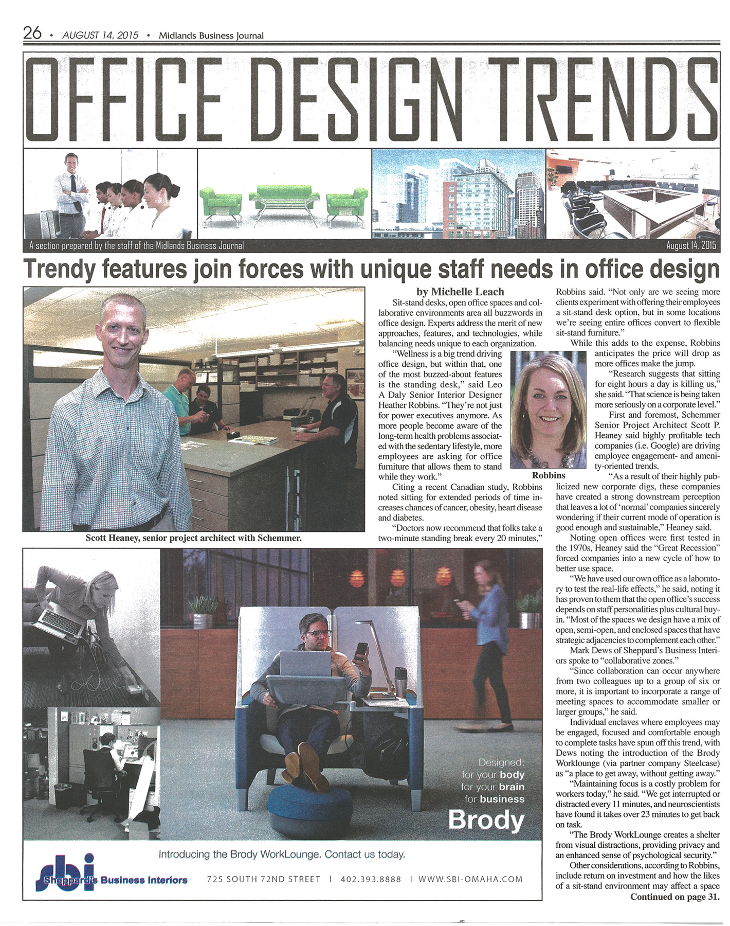 Midland Business Journal - August 2015 Sheppard's Business Interiors - Office Design Trends Page 1