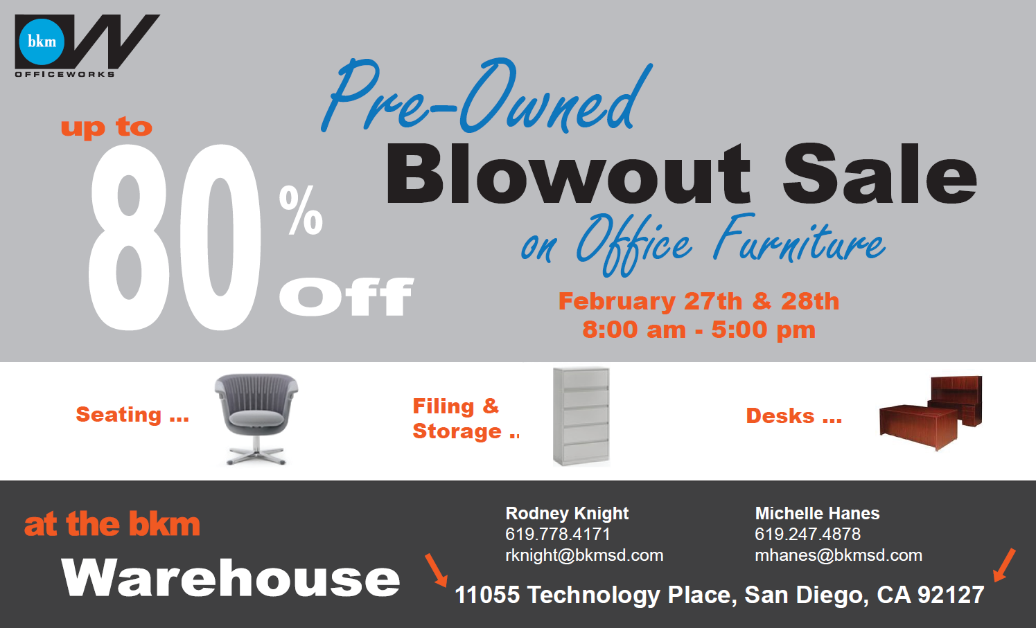 Come and check out our Blowout Sale of Pre-Owned Office Furniture!